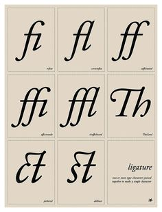 Ligature  2C. 18 x 24 inches.  Typographic education poster that displays a collection of Oldstyle serif ligatures (connected letterforms).
