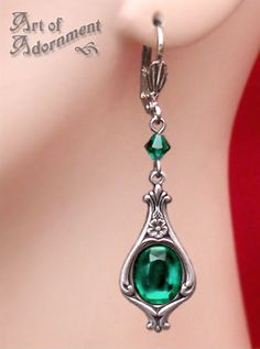 Absinthe Art Nouveau Drop Earrings $16.00. Also available in red.