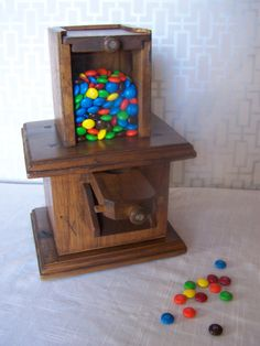 Vintage all wood candy dispenser by WhereTheRobinSings on Etsy