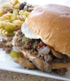 Philly Cheesesteak Sloppy Joes : Ground or sliced meat, this would be great with elk or deer.