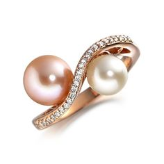 18K Rose Gold Pink Pearl Ring