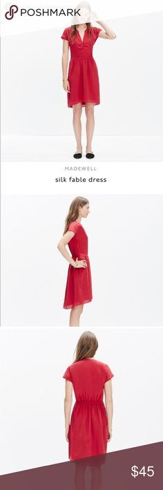 """Madewell silk Dress green (21000)With soft ruching at the neck and waist, this silk dress is seriously flattering. Try it with a leather jacket and boots for that boy-meets-girl vibe we love.    Waisted. Falls 36"""" from shoulder. Silk. Dry clean. Madewell Dresses Midi"""