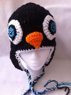 Hip Crochet  snow cap with earflaps black penguin hat by Cherie4e, $20.00