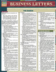 Business Letters Laminated Reference Guide Outlines the basic concepts of memos, emails, complaints and customer correspondence. Item is great for: - Academics - Individuals with a thirst for knowledg Business Management, Business Planning, Business Tips, Business Emails, Business Products, Business Writing, Business Letter, Potpourri, Daycare Business Plan
