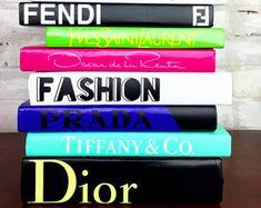 8 BOOKS - Green/Pink/Mint/Cobalt Blue, Designer Book Set, Chanel, Hermes, Fendi, Fashion, Prada, Dior, YSL, Home Accessories, Luxe Christmas