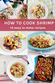 Quick, healthy and delicious dinner ideas using shrimp! These recipes are kid-approved and the perfect dinner you can pull off tonight. Dinner Recipes Easy Quick, Easy Food To Make, Healthy Dinner Recipes, Real Food Recipes, Clean Dinners, Gluten Free Dinner, How To Cook Shrimp, Skinny Recipes, Low Calorie Recipes