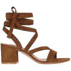 Gianvito Rossi Women 60mm Lace Up Suede Sandals ($755) ❤ liked on Polyvore featuring shoes, sandals, brown, suede sandals, laced sandals, mid-heel shoes, block heel sandals and block heel shoes