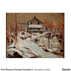 Tom Thomson Vintage Canadian Cabin Fraser's Lodge Postcard Wildlife Paintings, Nature Paintings, Landscape Paintings, Tom Thomson, Forest Cabin, Words On Canvas, Great Works Of Art, Classic Paintings, Canadian Art