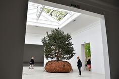 """2015 Venice Biennale - The Big Picture - The Boston Globe. Visitors admire one of the three mobiles trees, part of """"Revolutions"""" by French artist Celeste Boursier-Mougenot at the French pavilion on May 5 in Venice. (Gabriel Bouys/AFP/Getty Images)"""
