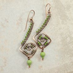Beaded Copper Wire Earrings by IntuitiveGlass on Etsy, $22.00
