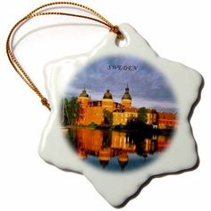 3dRose Picture Of Gripsholm Castle In Sweden, Snowflake Ornament, Porcelain, 3-inch