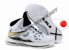 Cheap Buy White Black Gold Nike Lebron X (10) Holiday Promotions