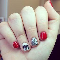 Tribal and elephant nail art, silhouette, gel manicure, opi gel polish, fun, cute