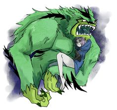 Beast Boy (Werebeast Man Beast) carrying Raven in his arms