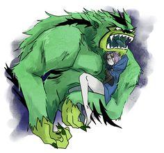 Beast Boy (Werebeast Man Beast) carrying Raven in his arms