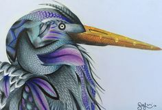 Heron from Millie Marotta's Animal Kingdom colouring book. #adultcolouring #bird #AnimalKingdom