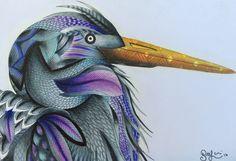 Heron from Millie Marotta's Animal Kingdom colouring book. #adultcolouring #bird #AnimalKingdom