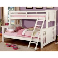 Furniture of America Concord Bunk Bed, Twin/Full, White - Great value for the price, definitely recommend.This Furniture of America that is ranked 1889005 in th Solid Wood Bunk Beds, White Bunk Beds, Full Bunk Beds, Bunk Beds With Stairs, Kids Bunk Beds, Loft Beds, White Futon, Grey Futon, Black Futon