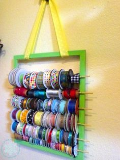 Just One Tip for the New Year: Create a hanging ribbon organizer (This would work for displaying shawls and scarves, too.)