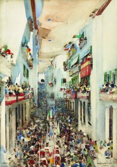 Melville's arrival in Toledo in 1890 coincided with preparations for the feast of Corpus Christi, which falls on the ninth Sunday after Easter and is the most significant event in that city's calendar. This striking composition is reminiscent of Monet's depiction of civic pageantry, La Rue Montorgueil a Paris. Fete du 30 Juin 1878 (Musee d' Orsay).