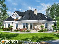 Projekt domu Dom pod juką 4 - ARCHON+ Bungalow Style House, Bungalow House Plans, Village House Design, Village Houses, 3d House Plans, House Construction Plan, Beautiful House Plans, Country Style House Plans, Facade Design