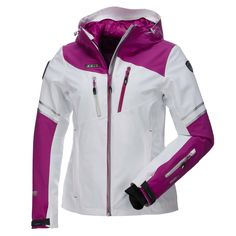 IcePeak, Mabel, Ski Jacket, Women, Optic White-Purple Wadded stretch ski jacket of the Polar ski collection of Icepeak Ski jacket selected from the Prozone series of Icepeak. The ski jacket is made of breathable and water repellent materials. This jacket will keep you warm as it has a detachable inner jacket.