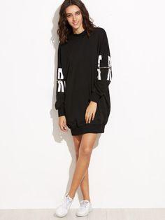 Vestido sudadera con estampado de letras y cremallera - negro