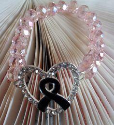 Black Awareness Bracelet, Black Ribbon Heart Bracelet, Light Pink Crystal No Clasp Bracelet, Melanoma Awareness Bracelet, Mourning Bracelet by lanesamarie on Etsy