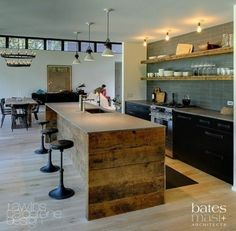 Modern and Rustic Blended, Transom Windows, Wood Shelving On All Tile Wall