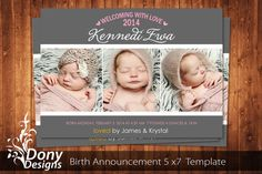 BUY 1 GET 1 FREE Birth Announcement - Neutral Baby Announcement Card - Photoshop Template Instant Download: cardcode-159 on Etsy, $5.65 AUD