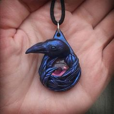 Morgana the Raven Sculpted Pendant Polymer Clay by dreamtrappings
