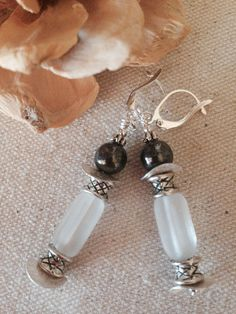 Charcoal Gray Pearl and Frosted Glass Beaded Earrings