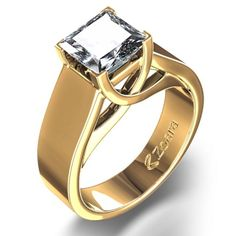 """Wide Band Princess-Cut Engagement Ring in 18k Yellow Gold - I am typically not a """"yellow gold"""" person, but this is stunning!"""