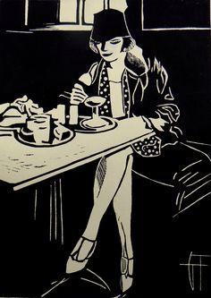 La femme au chapeau - Linocut, Geraldine Theurot, Print