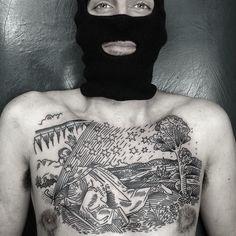 Chest Piece by Charley Gerardin done at Third Eye Tattoo, Fitzroy North, Melbourne. Third Eye Tattoos, Chest Piece, Black And Grey Tattoos, Cool Tattoos, Melbourne, Eyes, Brisket, Black And Gray Tattoos, Coolest Tattoo