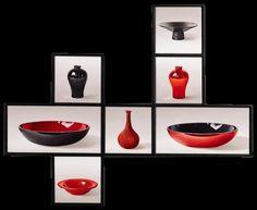 Meerluik Rood Zwarte schalen en vaasjes