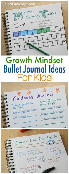 Growth Mindset Bullet Journal Ideas for Kids - Set goals, record progress, journal new experiences, and more! Learning Activities, Activities For Kids, Stem Activities, Educational Activities, Kindness Activities, Educational Quotes, Educational Leadership, Learning Quotes, Educational Websites