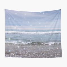 """""""Ocean Vintage Sparkly Aesthetic"""" Tapestry by ind3finite   Redbubble Moon Tapestry, Tapestry Bedroom, Tapestry Wall Hanging, Rainbow Aesthetic, Pink Aesthetic, Thing 1, Tapestry Design, Ocean Waves, Aesthetic Pictures"""