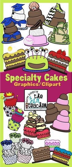 36 Specialty Cake Graphics in color and line art by The 3AM Teacher!!!