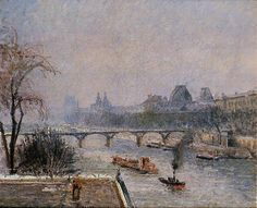 The Louvre, Morning, Snow Effect via Camille Pissarro, 46x55 cm, oil on canvas
