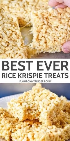 to make the best Rice Krispie Treats ever! Easy recipe for kids too. Makes a chewy, gooey, deliciously perfect dessert!How to make the best Rice Krispie Treats ever! Easy recipe for kids too. Makes a chewy, gooey, deliciously perfect dessert! Köstliche Desserts, Delicious Desserts, Dessert Recipes, Yummy Food, Easy Recipes For Desserts, Simple Recipes, Rice Krispy Treats Recipe, Rice Crispy Recipe, Dairy Free Rice Krispie Treats