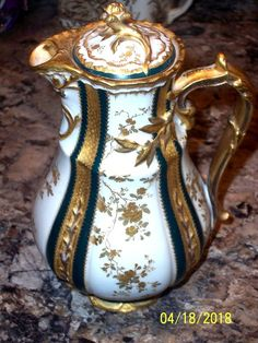 H & CO. LIMOGES CHOCOLATE POT W/WHITE BACKGROUND OVERALL GILT/GILT HandleAS-IS #HCoLimoges