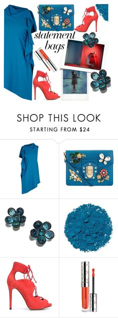 """""""statement bag n0.4"""" by paperdollsq ❤ liked on Polyvore featuring Polaroid, Roland Mouret, Dolce&Gabbana, Marguerite de Valois, Illamasqua, Tabitha Simmons, By Terry, teal, ruffle and statementbags"""