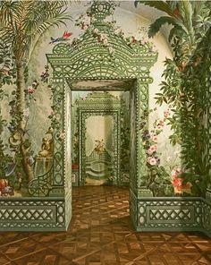 Avec ses idylliques paysages pleins de plantes exotiques et des paysages romantiques, Johann Baptist Wenzel Bergl créé une nouvelle variation de peinture baroque illusionniste . Il était l'un des peintre favori de l'impératrice Marie-Thérèse  (1717-1780) pour lequel il confectionna des peintures murales grandioses en 1766 pour son château de Schönbrunn à Vienne