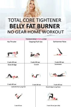Best Core Workouts, Gym Workout Tips, Fitness Workout For Women, Fit Board Workouts, Easy Workouts, At Home Workouts, Workout Videos, Fitness Tips, Belly Fat Burner Workout