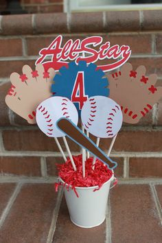 ideas about Baseball Centerpiece Baseball Birthday Party, Softball Party, 9th Birthday Parties, Sports Birthday, Boy Birthday, Birthday Ideas, Baseball Party Favors, Softball Crafts, Half Birthday