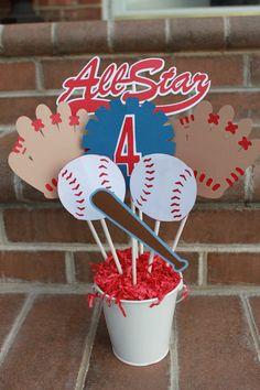 Baseball Party Centerpiece by KellyKrockerKreates on Etsy, $17.00
