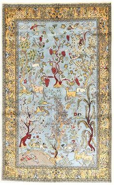 Qum Kork/silk pictorial carpet 153x248
