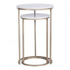 Avoca Marble Top Side Table Set of 2 - Coffee & Side Tables - Living Marble Top Side Table, Art Deco Era, Modern Spaces, Mid Century Furniture, Home Staging, Home And Living, Living Spaces, Living Room, Table Settings