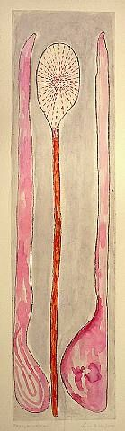 Louise Bourgeois, Paddle Woman - Gouache, ink, etching on paper. 2006